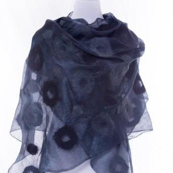 Large Nuno-felted Silk Premium Scarf, Handmade Silk Wool Nunofelted Scarf, Felted Shawl, Felted Eco Wool , Gift idea, Gift for her, OOAK